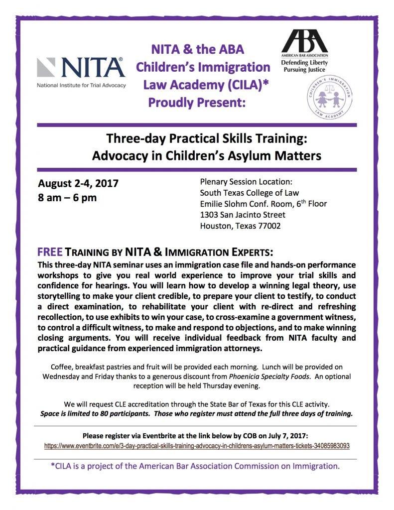 NITA Training Flyer